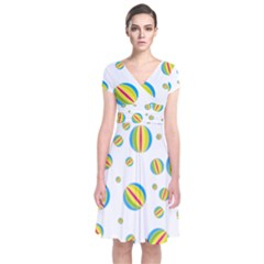 Balloon Ball District Colorful Short Sleeve Front Wrap Dress