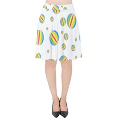 Balloon Ball District Colorful Velvet High Waist Skirt