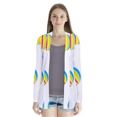 Balloon Ball District Colorful Drape Collar Cardigan