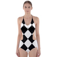 Grid Domino Bank And Black Cut Out One Piece Swimsuit