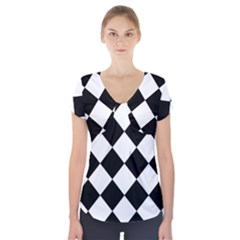 Grid Domino Bank And Black Short Sleeve Front Detail Top
