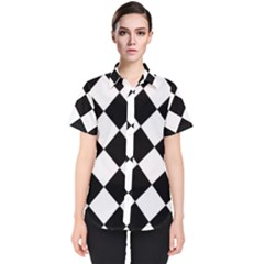 Grid Domino Bank And Black Women s Short Sleeve Shirt