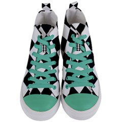 Grid Domino Bank And Black Women s Mid Top Canvas Sneakers