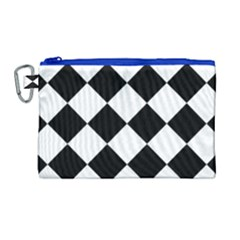 Grid Domino Bank And Black Canvas Cosmetic Bag (large)