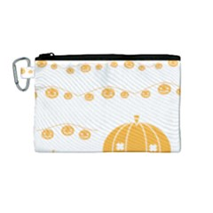 Pumpkin Halloween Deco Garland Canvas Cosmetic Bag (medium)