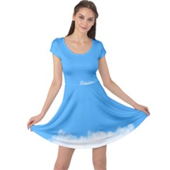 Sky Blue Blue Sky Clouds Day Cap Sleeve Dress
