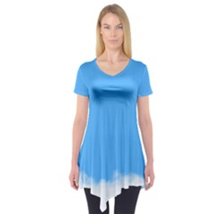Sky Blue Blue Sky Clouds Day Short Sleeve Tunic