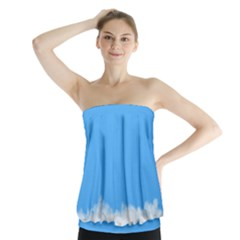 Sky Blue Blue Sky Clouds Day Strapless Top