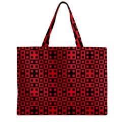 Abstract Background Red Black Zipper Mini Tote Bag