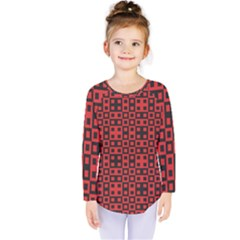 Abstract Background Red Black Kids  Long Sleeve Tee