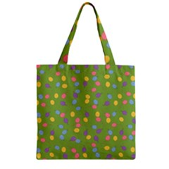 Balloon Grass Party Green Purple Zipper Grocery Tote Bag