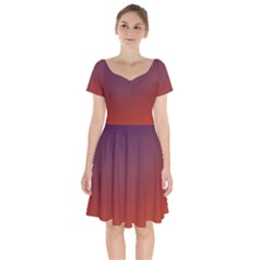 Course Colorful Pattern Abstract Short Sleeve Bardot Dress