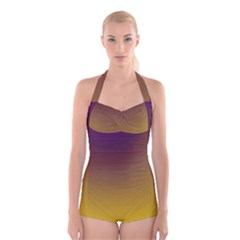 Course Colorful Pattern Abstract Boyleg Halter Swimsuit