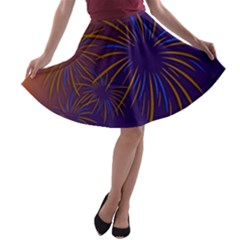 Sylvester New Year S Day Year Party A Line Skater Skirt