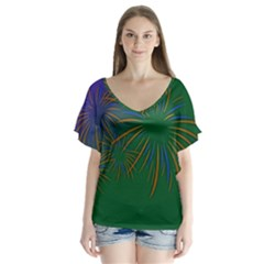 Sylvester New Year S Day Year Party V Neck Flutter Sleeve Top
