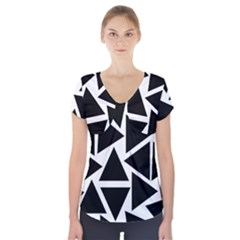 Template Black Triangle Short Sleeve Front Detail Top