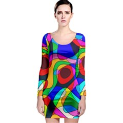 Digital Multicolor Colorful Curves Long Sleeve Bodycon Dress