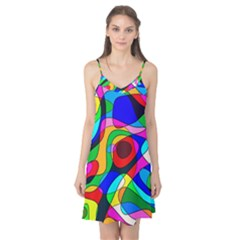 Digital Multicolor Colorful Curves Camis Nightgown