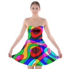 Digital Multicolor Colorful Curves Strapless Bra Top Dress