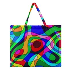 Digital Multicolor Colorful Curves Zipper Large Tote Bag