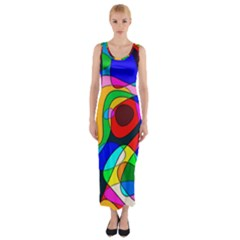 Digital Multicolor Colorful Curves Fitted Maxi Dress