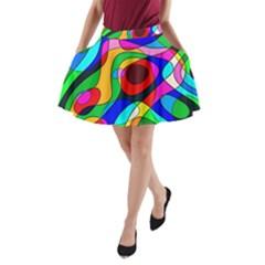 Digital Multicolor Colorful Curves A Line Pocket Skirt