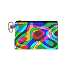 Digital Multicolor Colorful Curves Canvas Cosmetic Bag (small)