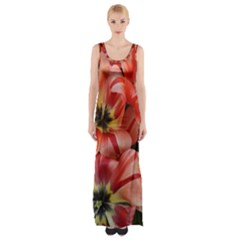 Tulips Flowers Spring Maxi Thigh Split Dress