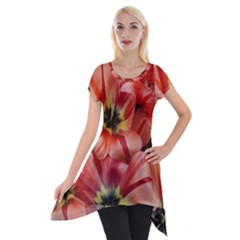 Tulips Flowers Spring Short Sleeve Side Drop Tunic