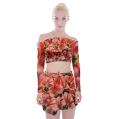 Tulips Flowers Spring Off Shoulder Top With Mini Skirt Set