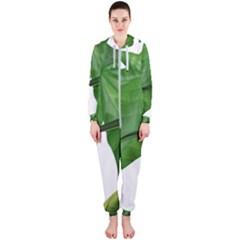 Plant Berry Leaves Green Flower Hooded Jumpsuit (ladies)