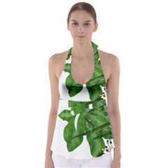 Plant Berry Leaves Green Flower Babydoll Tankini Top