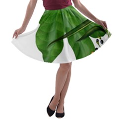 Plant Berry Leaves Green Flower A Line Skater Skirt