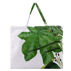 Plant Berry Leaves Green Flower Zipper Large Tote Bag