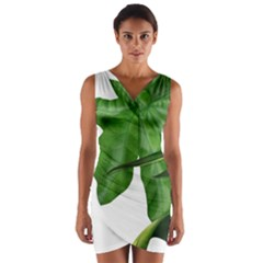 Plant Berry Leaves Green Flower Wrap Front Bodycon Dress