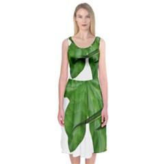 Plant Berry Leaves Green Flower Midi Sleeveless Dress