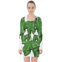 Plant Berry Leaves Green Flower V Neck Bodycon Long Sleeve Dress