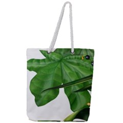 Plant Berry Leaves Green Flower Full Print Rope Handle Tote (large)