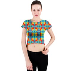 Pop Art Abstract Design Pattern Crew Neck Crop Top