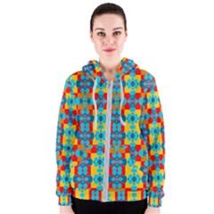 Pop Art Abstract Design Pattern Women s Zipper Hoodie