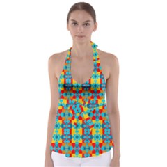 Pop Art Abstract Design Pattern Babydoll Tankini Top
