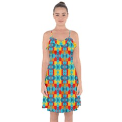 Pop Art Abstract Design Pattern Ruffle Detail Chiffon Dress