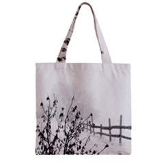 Snow Winter Cold Landscape Fence Zipper Grocery Tote Bag