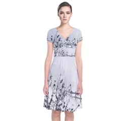 Snow Winter Cold Landscape Fence Short Sleeve Front Wrap Dress