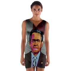 George W Bush Pop Art President Usa Wrap Front Bodycon Dress