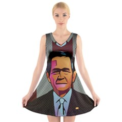 George W Bush Pop Art President Usa V Neck Sleeveless Skater Dress