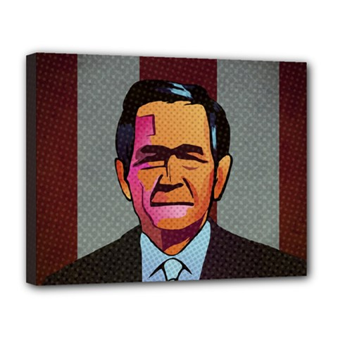 George W Bush Pop Art President Usa Canvas 14  X 11
