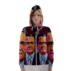 George W Bush Pop Art President Usa Hooded Wind Breaker (women)