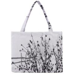 Snow Winter Cold Landscape Fence Mini Tote Bag