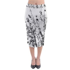 Snow Winter Cold Landscape Fence Midi Pencil Skirt
